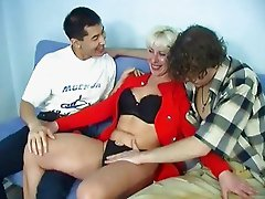 Horny mom shagging with two well hung boys