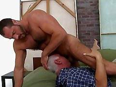 Hot old man is swallowing deep a dudes stiff rod