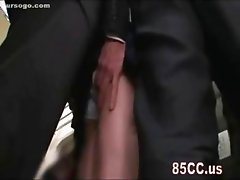 cute milf fingered by geek on bus