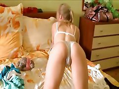 Blonde teen in weird panties toying