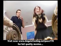 Wonderful superb sexy redhead cheerleader talking with two guys