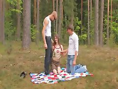 Amateur serbian threesome in the forest