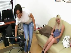 Skinny blondie coitus on fake casting