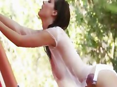 sexy brunette have garden shower