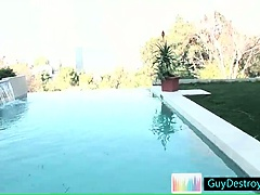 Guy stripping at the pool