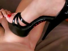 Naughty blonde enjoys foot fucking