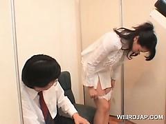 Hot asian nurses rubbing shaft for sperm sample