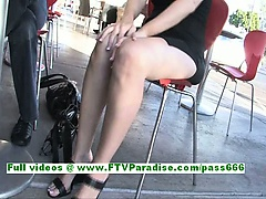 Sadie amazing blonde woman public flashing tits and pussy