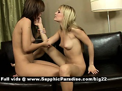 Angelica and Beatrice lesbo girls tribbing on the couch