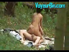 Couple caught fucking in the woods by a peeper