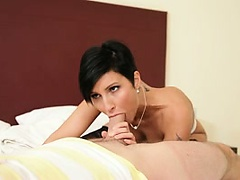 Sexy milf Gabrielle goes to work on sucking a guy's cock