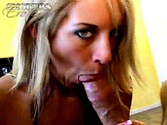 Beauty blue eyed blonde seductress Desire Moore smoking and