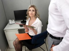 All-natural girlfriend in black stockings Mazzy Grace fucked on the casting