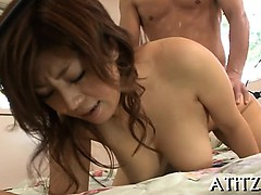 Demure japanese with hawt love muffins gives blowjob
