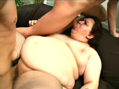 bbw bitch has a threesome with two big cocks