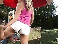 Very busty and flexible blonde fucks hotdog vendor