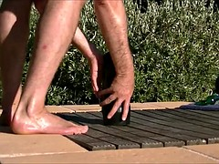 Outdoors asshole destruction with abnormally huge dildo