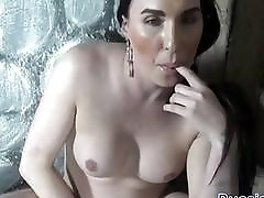 Sensational Russian semale strokes her cock sol and then penetrates