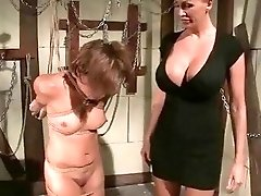 Mandy Bright playing with sexy slave Szilvia Lauren BDSM porn