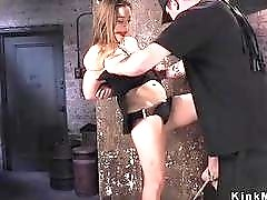 Gagged hogtied slave pussy fingered by dungeon master BDSM porn