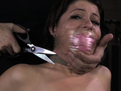 BDSM sub Mia Gold nipple tormented