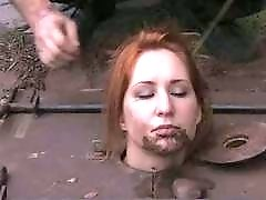 Dirty redhead slut gets worms on her face BDSM porn