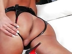 Gorgeous shemale with a great ass gets penetrated hard