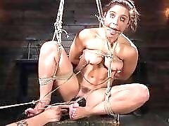 Hottie Abella Danger weeping while tied up and toyed BDSM