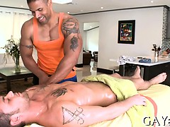 Massaging his stomach and huge pecker