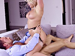 Elegant big titty blonde gets all she needs from stud