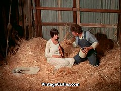 Busty brunette's hairy pussy fucked in the barn (1970s retro style)