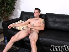 Hung soldier Julian Brady jerking off while off duty