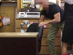 Sexy card dealer nailed in the pawnshop