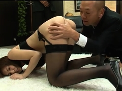 Buxom Japanese girl braces herself for an intense drilling