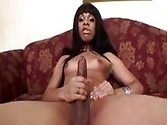 Ebondy Shemale shows off small tits and big dick
