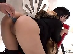 Doggy dildo pounding for Sayuri from the behind