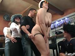 Wild bbw party in the bar
