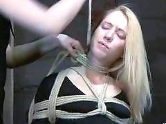 Skinny blonde slave gets roped up by master BDSM porn