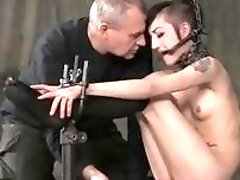 Skinny BDSM slave Bunny Doll bound and toyed by master
