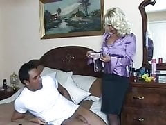 Sexy blonde in a black slip