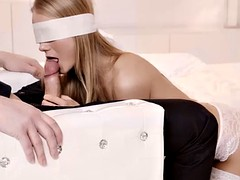 Blonde fucks beautifully while wearing a mask on her face