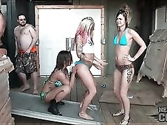 Bikini girls dance for the guys at spring break