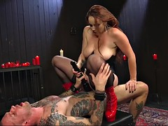 phat ass mistress bella rossi rides her slave and fucks his ass with a strapon