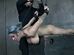 buxom slave bitch gets toyed by sex master