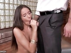 Tiny tits cutie kissing and sucking dick