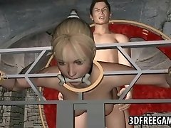 Restrained 3D cartoon blonde babe gets fucked hard