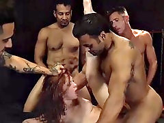 hot redhead gets her facial cream after her dick party