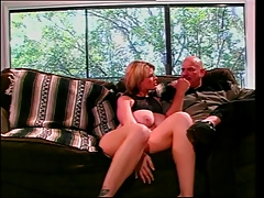 Chubby blonde with big tits sucks thick meat while getting banged in threesome