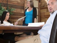 Sensual big-boobed brunette Veronica Rayne loves hardcore sex in the office