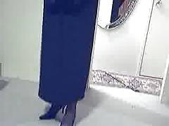 Black evening gown, lingerie, heels and operagloves